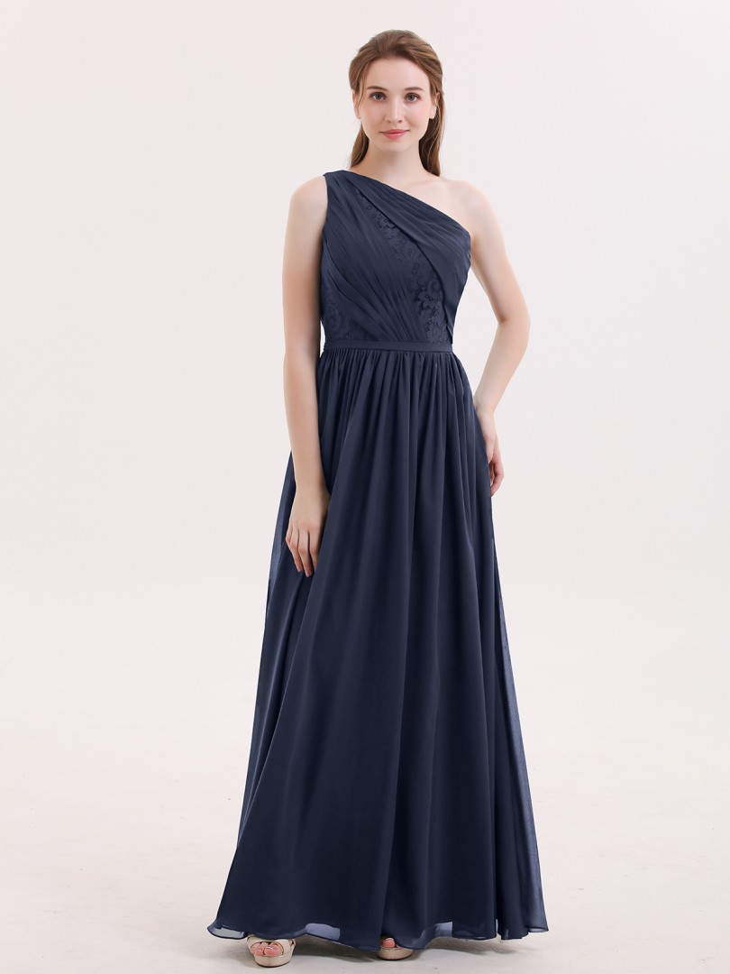 A-line Chiffon Dark Navy Zipper Side Lace, Ruched, Pleated Floor-length One Shoulder Sleeveless Chiffon Bridesmaid Dresses