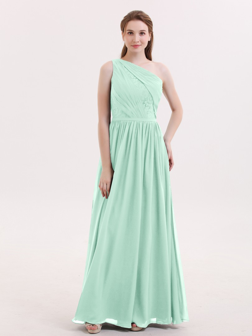 A-line Chiffon Dark Navy Zipper Side Lace, Ruched, Pleated Floor-length One Shoulder Sleeveless Long Bridesmaid Dresses