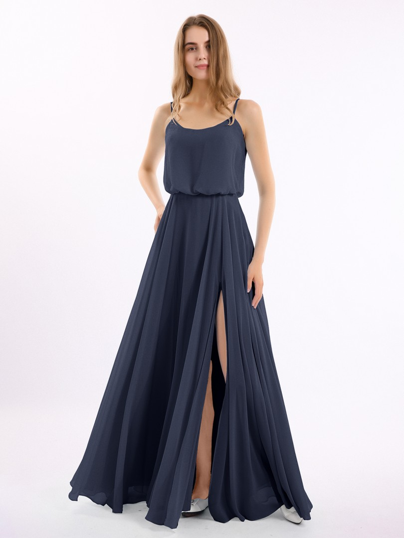 A-line Chiffon Papaya Zipper Side  Floor-length Strapless Spaghetti Straps Long Bridesmaid Dresses
