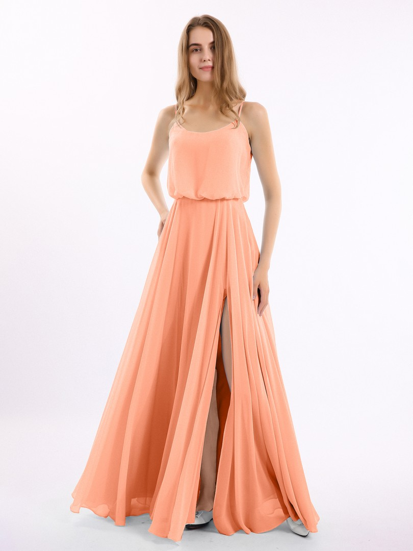A-line Chiffon Papaya Zipper Side  Floor-length Strapless Spaghetti Straps Bridesmaid Dresses