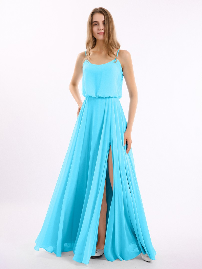 A-line Chiffon Papaya Zipper Side  Floor-length Strapless Spaghetti Straps New Arrivals