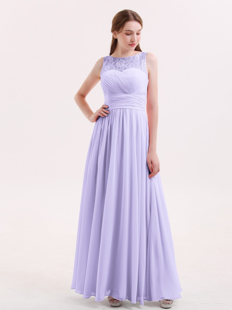 5fb9d148220c A-line Chiffon Dusk Zipper Pleated Floor-length Illusion Sleeveless Long  Bridesmaid Dresses. Loading zoom