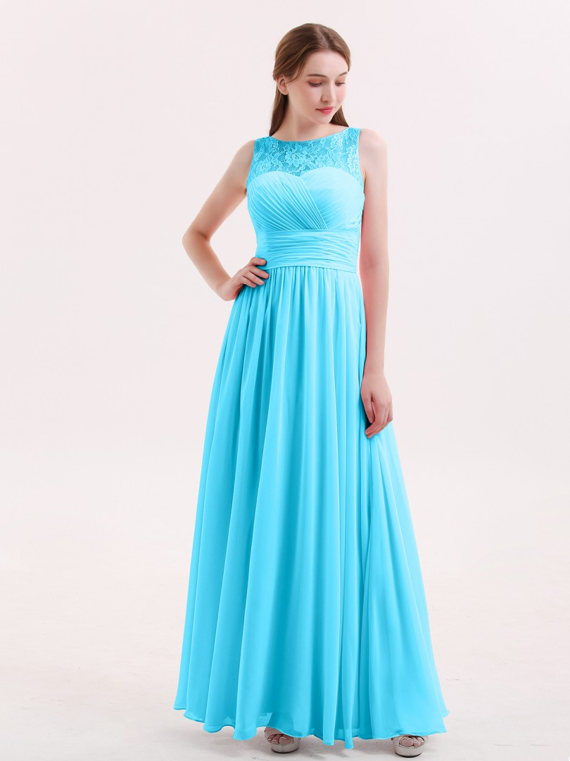 A-line Chiffon Dusk Zipper Pleated Floor-length Illusion Sleeveless Long Bridesmaid Dresses
