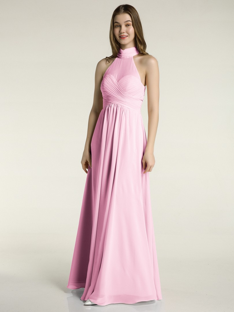 A-line Chiffon Slate Blue Zipper Bow, Ruched, Pleated Floor-length High Neck Sleeveless New Arrivals