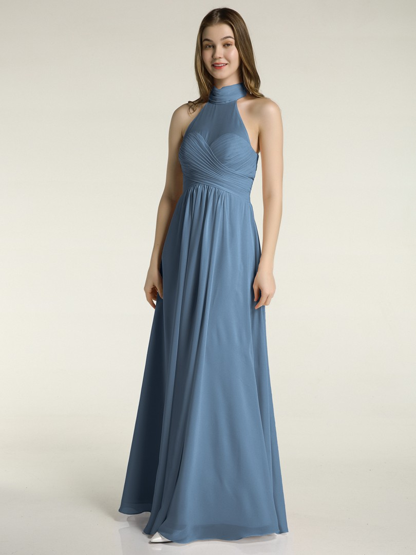 A-line Chiffon Slate Blue Zipper Bow, Ruched, Pleated Floor-length High Neck Sleeveless Long Bridesmaid Dresses