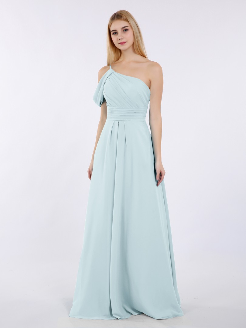 A-line Chiffon Pool Zipper Side Ruched, Pleated Floor-length One Shoulder Straps Long Bridesmaid Dresses