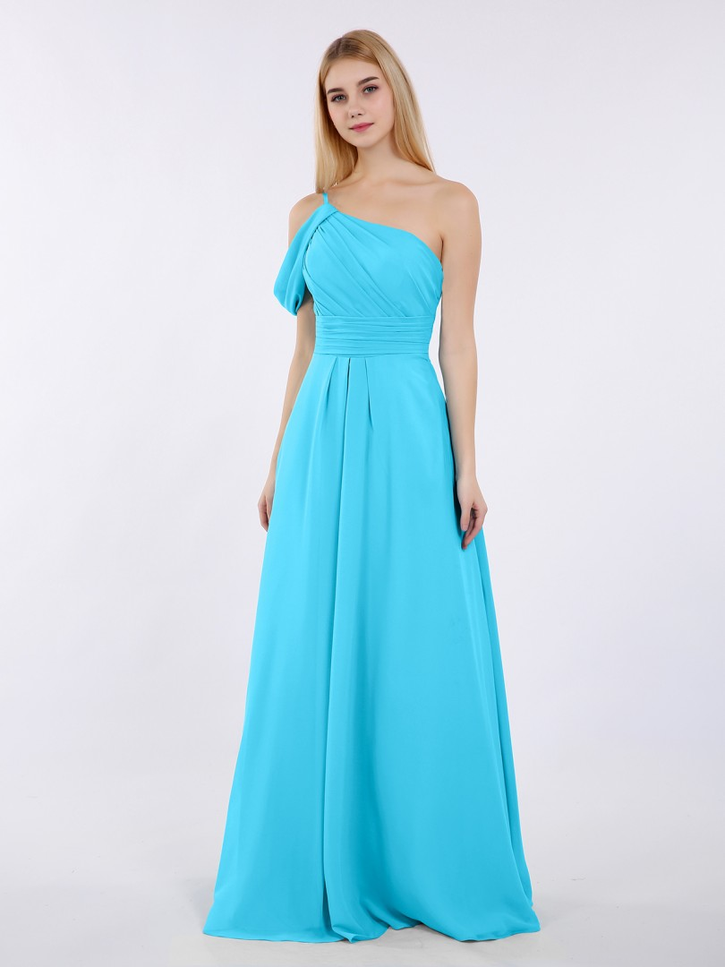 A-line Chiffon Pool Zipper Side Ruched, Pleated Floor-length One Shoulder Straps New Arrivals