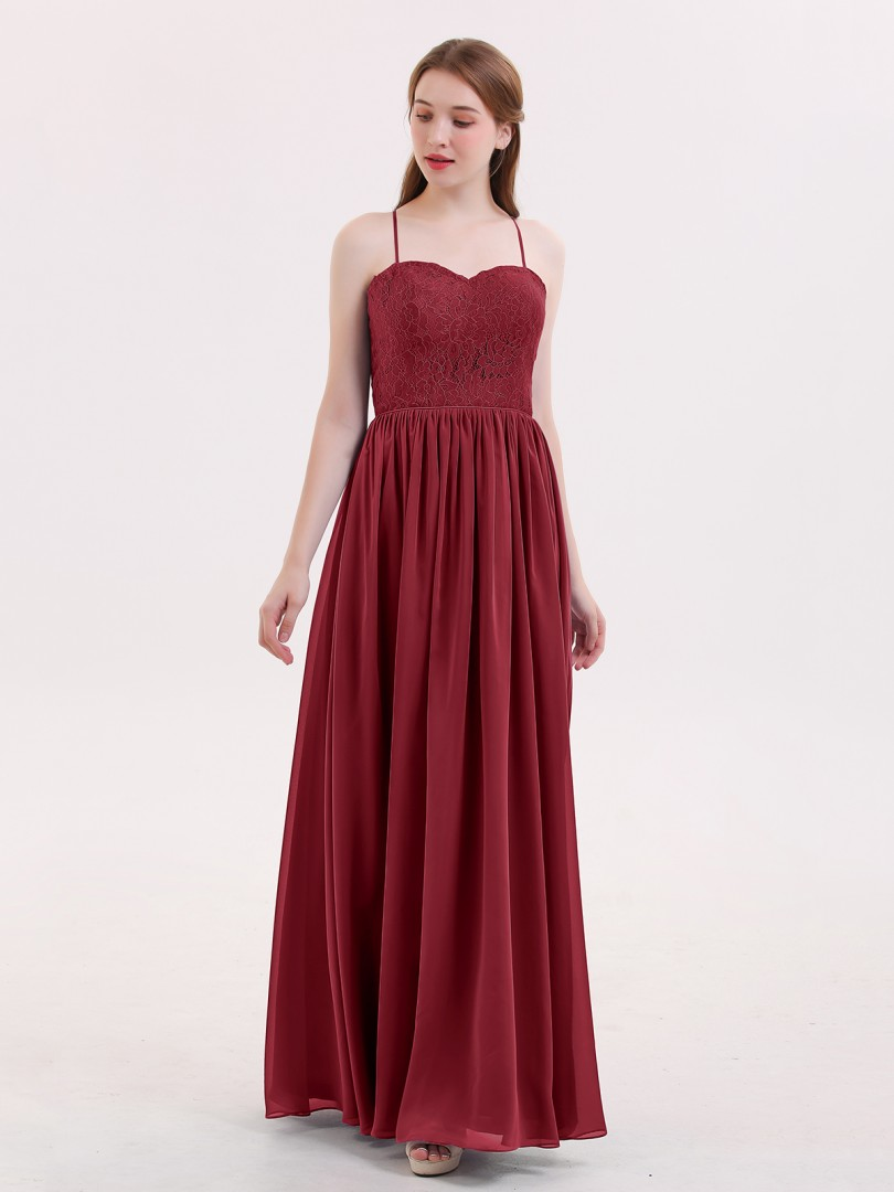 A-line Chiffon Tahiti Zipper Lace, Ruched Floor-length Sweetheart Spaghetti Straps Long Bridesmaid Dresses