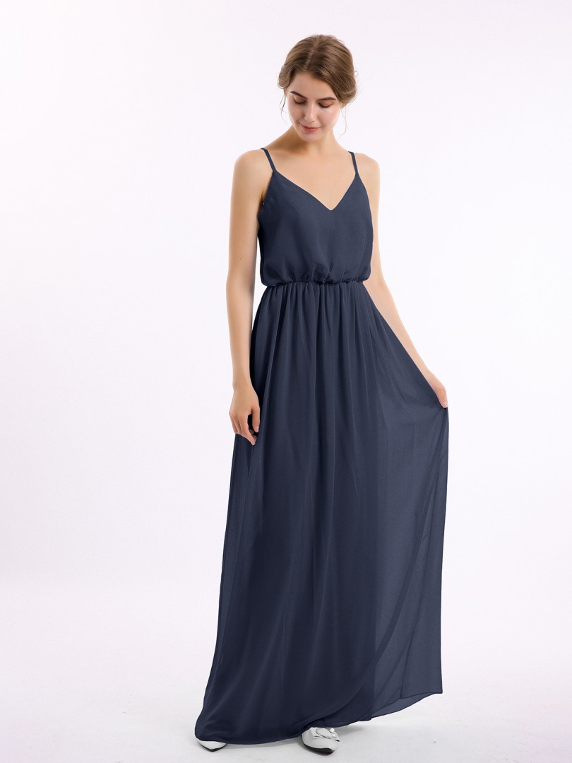 A-line Chiffon Royal Blue Zipper Side Pleated Floor-length V-neck Straps New Arrivals