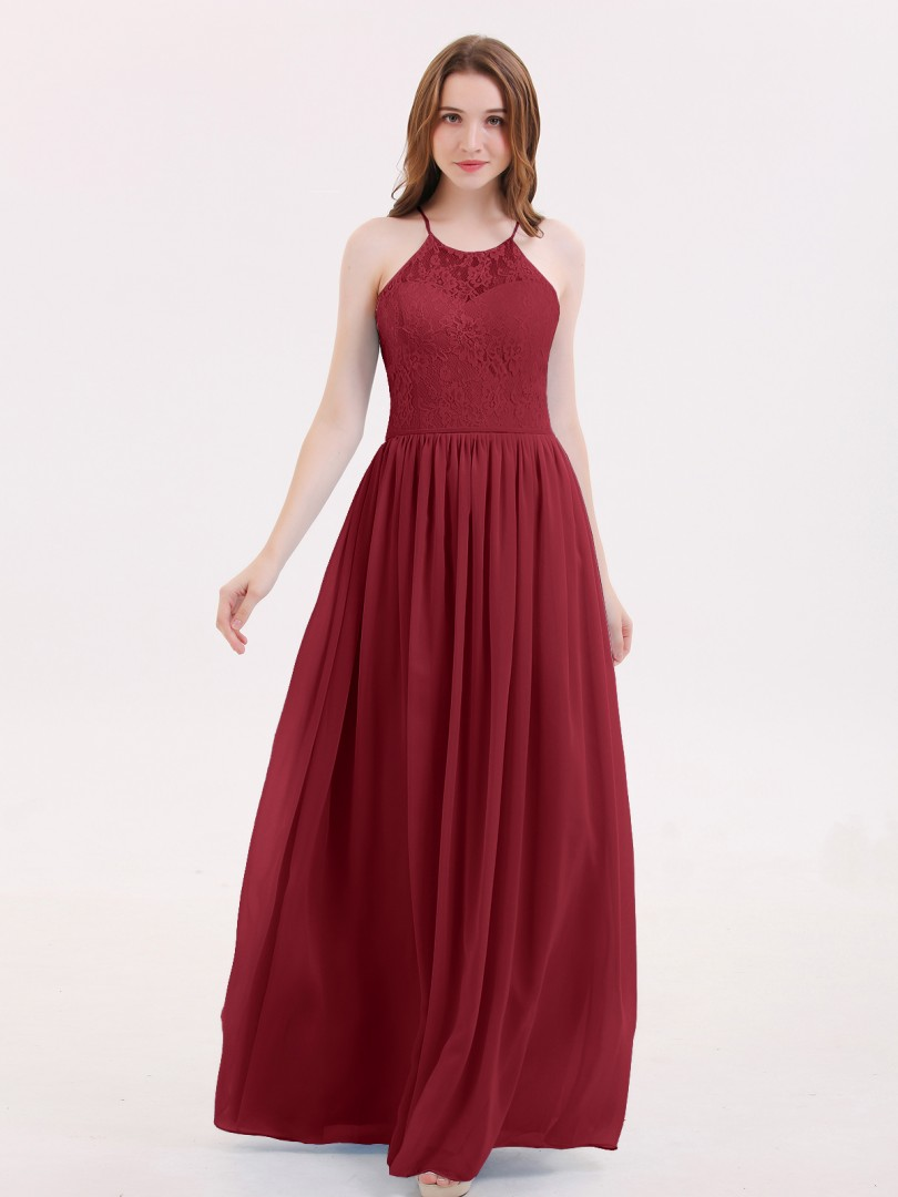 A-line Chiffon Sky Blue Lace-up Lace, Ruched Floor-length Halter Sleeveless Long Bridesmaid Dresses