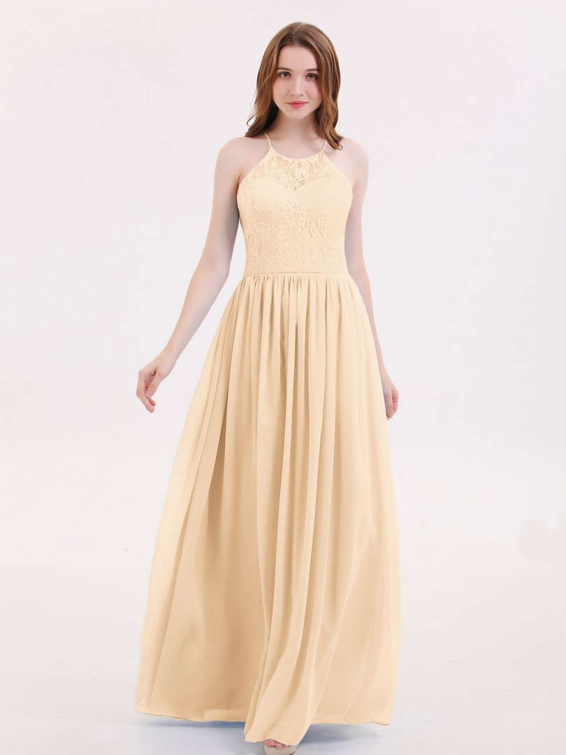 A-line Chiffon Sky Blue Lace-up Lace, Ruched Floor-length Halter Sleeveless Bridesmaid Dresses