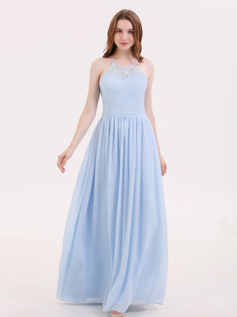 A-line Chiffon Sky Blue Lace-up Lace, Ruched Floor-length Halter Sleeveless Prom Dresses