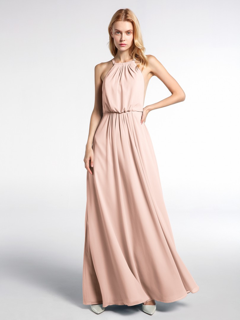 A-line Chiffon Rust Backless Pleated Floor-length Halter Sleeveless New Arrivals