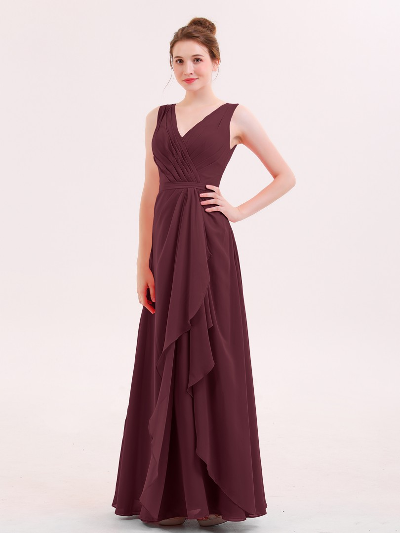 A-line Chiffon Watermelon Zipper Ruffle Floor-length V-neck Sleeveless Long Bridesmaid Dresses