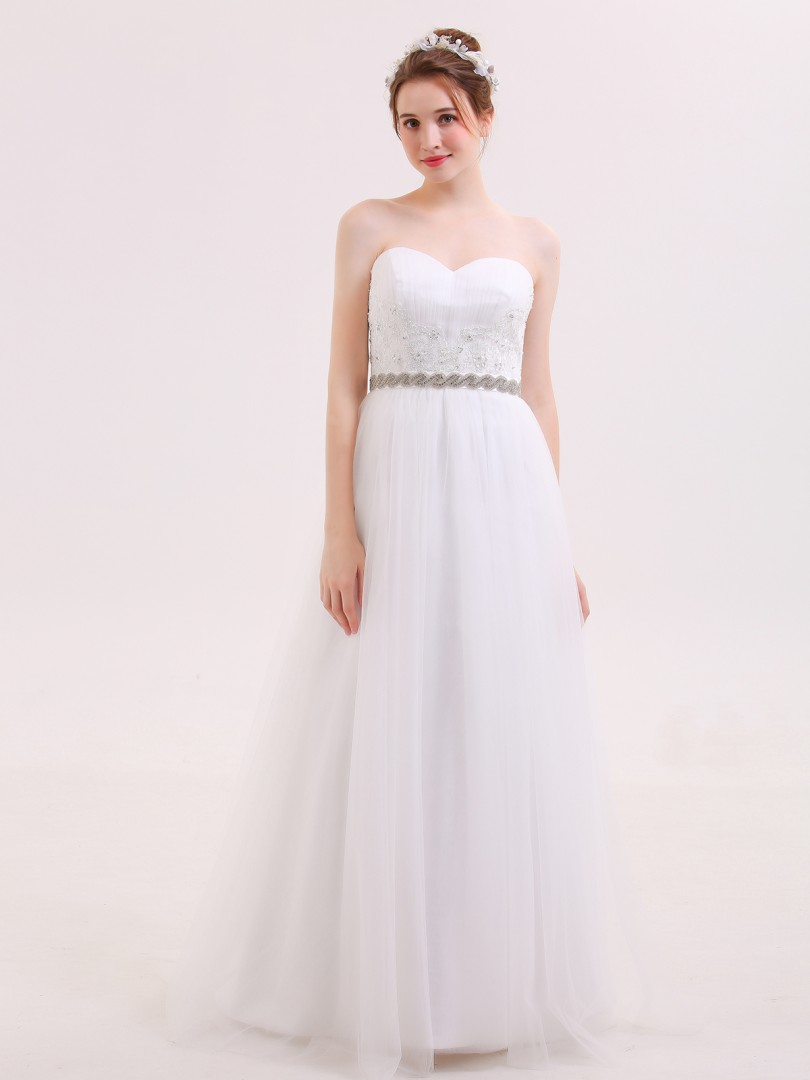 A-line Tulle White Zipper Appliqued, Beaded, Sash Sweep/Brush Train Sweetheart Sleeveless Wedding Dresses