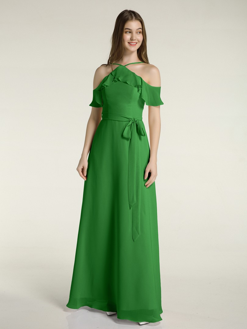 A-line Chiffon Green Zipper Belt, Bow Floor-length Halter Spaghetti Straps Bridesmaid Dresses