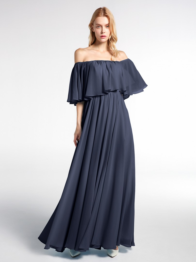 A-line Chiffon Dark Navy Zipper Ruffle Floor-length No Sleeveless Long Bridesmaid Dresses