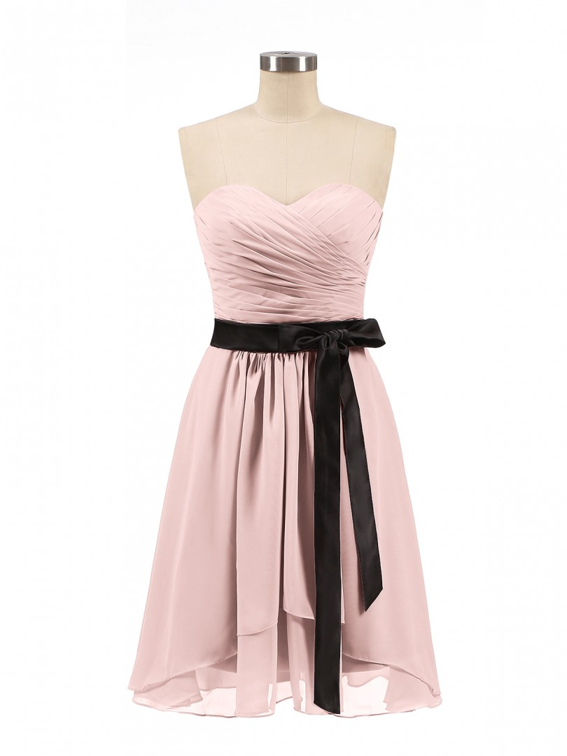 A-line Chiffon Dusty Rose Zipper Bow, Ruched, Pleated Short/Mini Sweetheart Sleeveless Short Bridesmaid Dresses