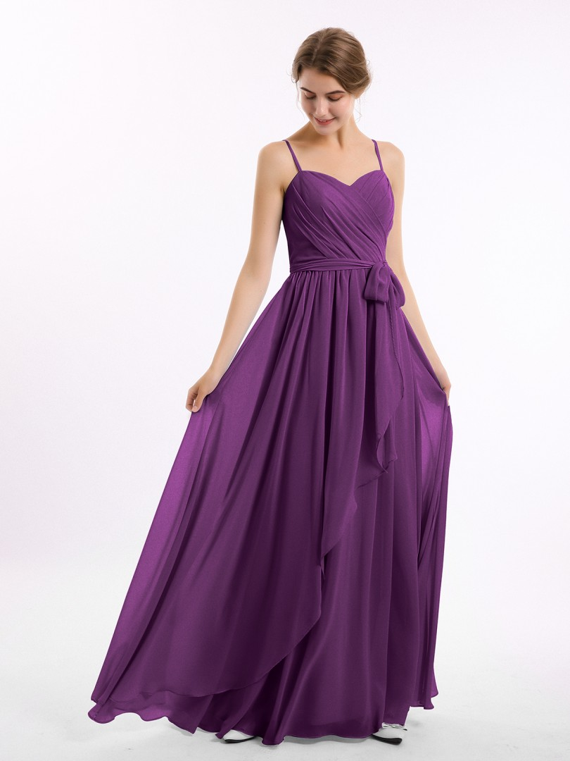 A-line Chiffon Grape Zipper Side Belt, Ruffle, Ruched Floor-length Sweetheart Spaghetti Straps New Arrivals