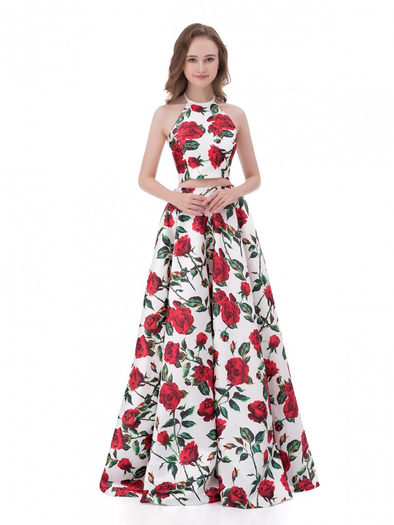 A-line Satin Floral Zipper Floral Floor-length Halter Sleeveless Long Prom Dresses