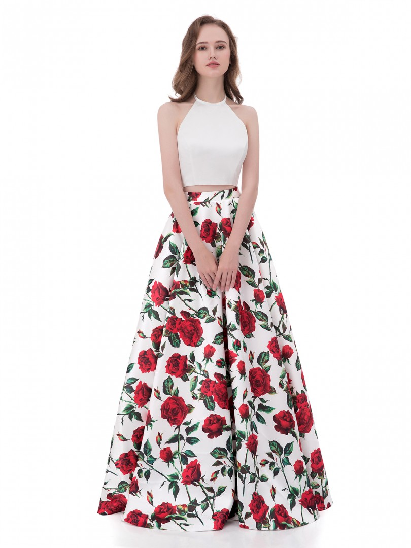 A-line Satin Floral Zipper Floral Floor-length Halter Sleeveless Prom Dresses