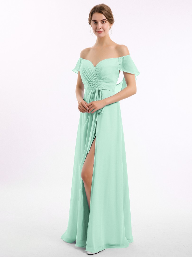 A-line Chiffon Peacock Backless Ruched Floor-length Off-the-shoulder Short New Arrivals