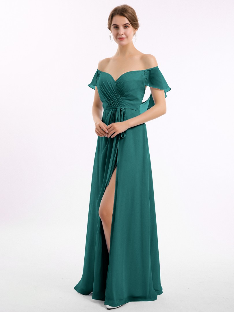 A-line Chiffon Peacock Backless Ruched Floor-length Off-the-shoulder Short Bridesmaid Dresses