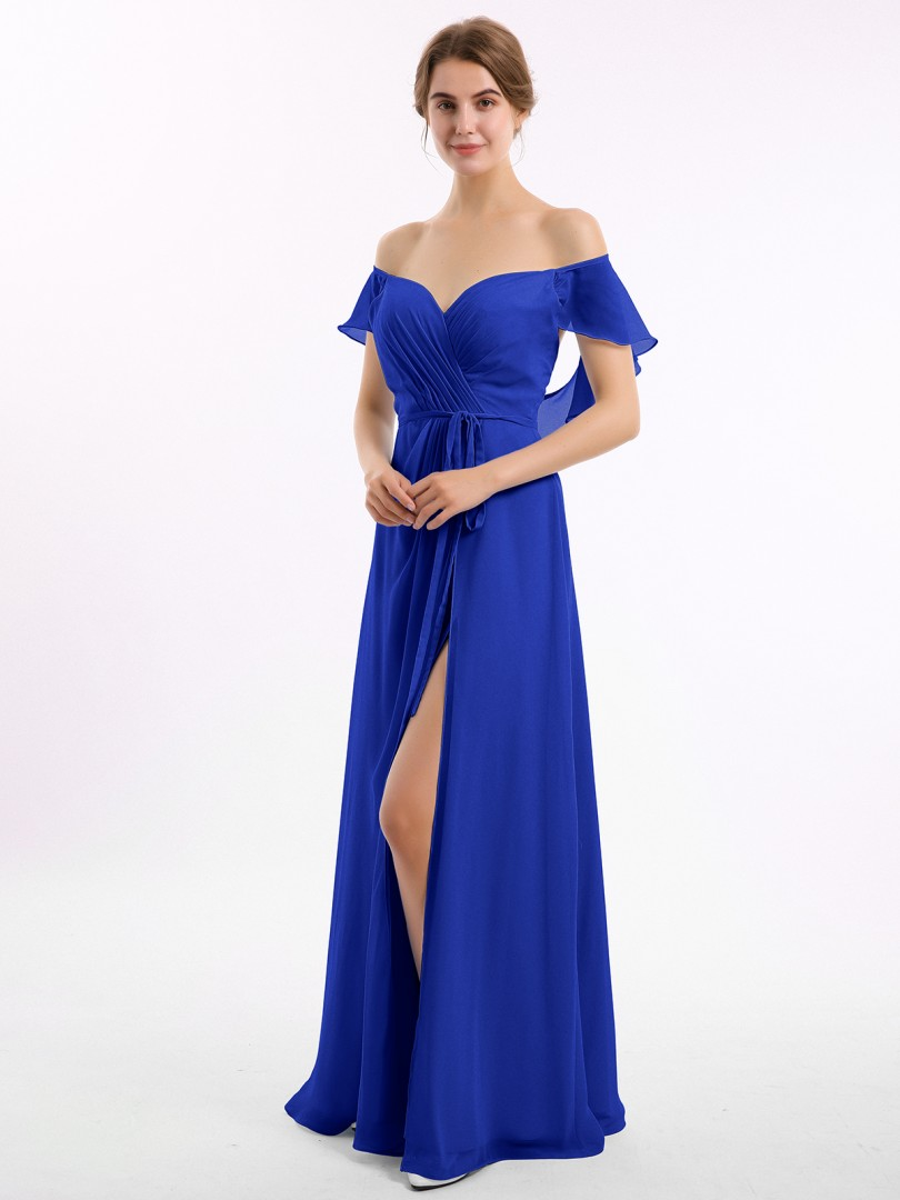A-line Chiffon Peacock Backless Ruched Floor-length Off-the-shoulder Short Long Bridesmaid Dresses