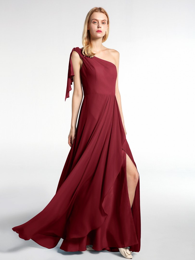 A-line Chiffon Burgundy Zipper Pleated Floor-length One Shoulder Sleeveless New Arrivals