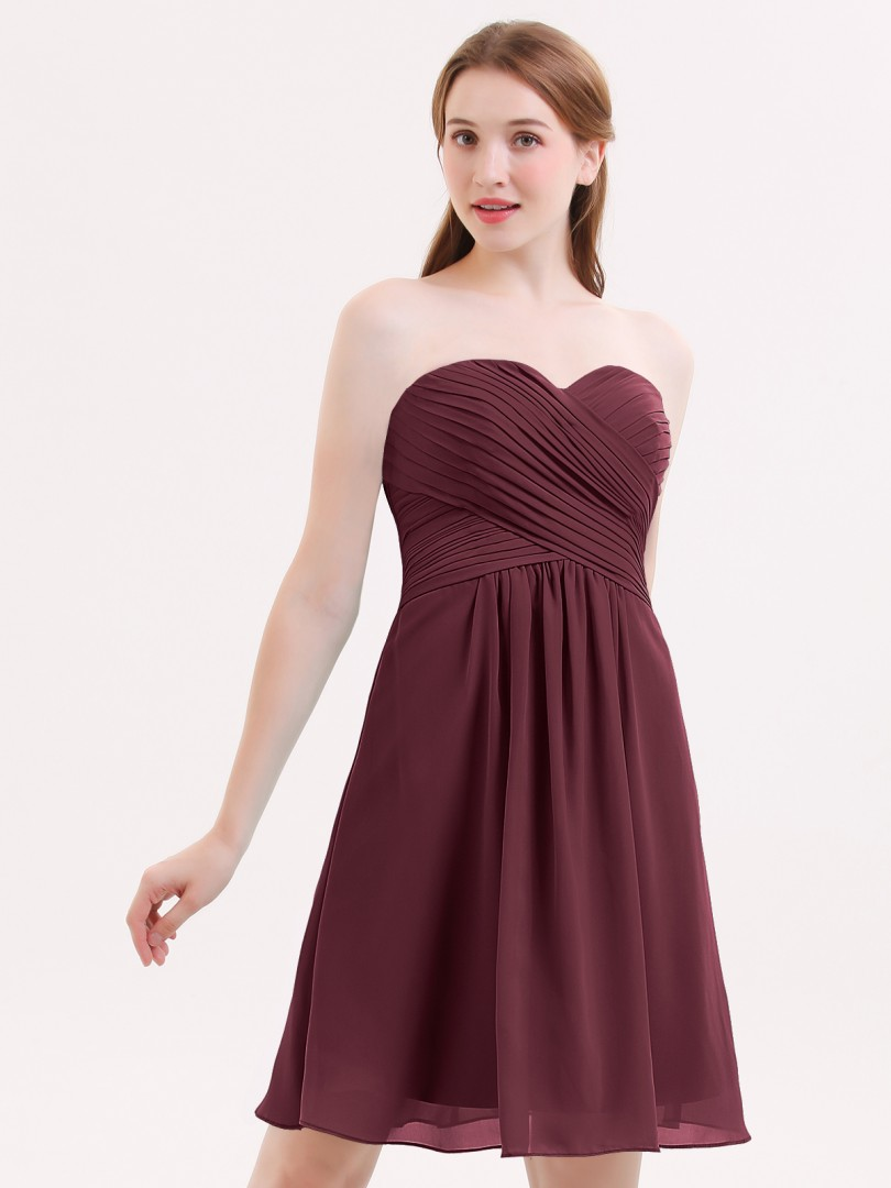 A-line Chiffon Cabernet Zipper Ruched, Pleated Knee-length Sweetheart Sleeveless Bridesmaid Dresses