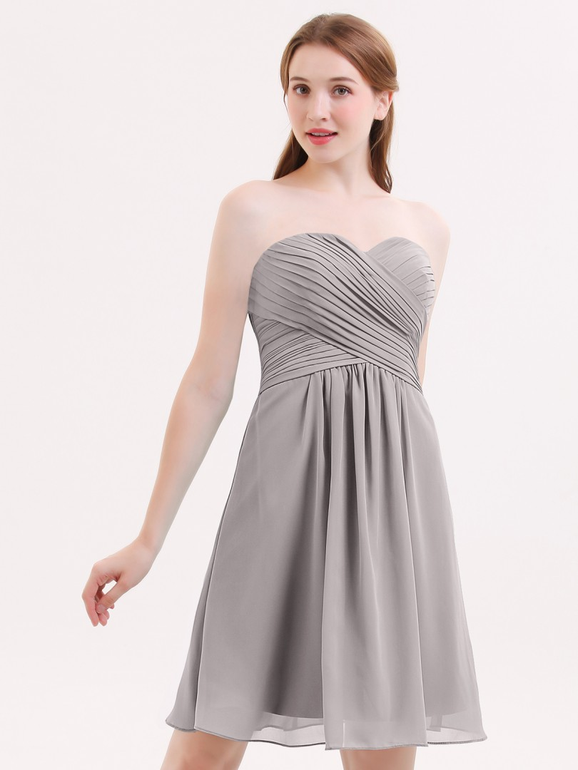 A-line Chiffon Cabernet Zipper Ruched, Pleated Knee-length Sweetheart Sleeveless Short Bridesmaid Dresses