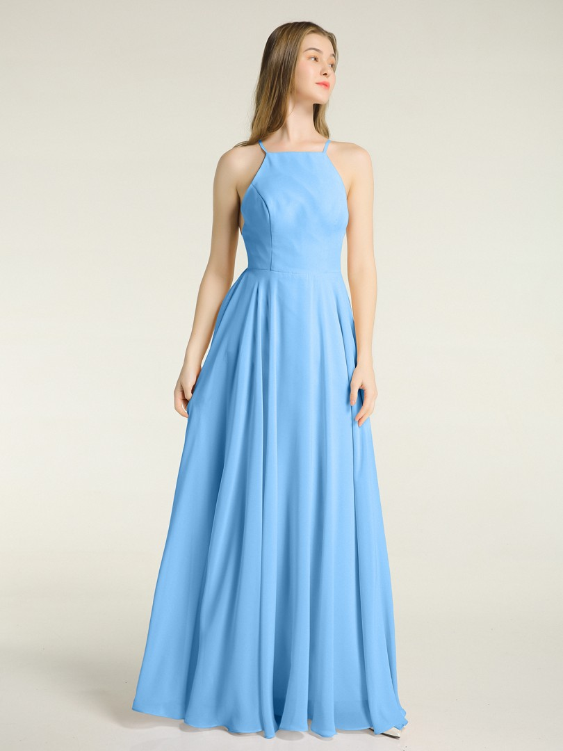 A-line Chiffon Dusty Rose Backless  Floor-length Square Spaghetti Straps New Arrivals