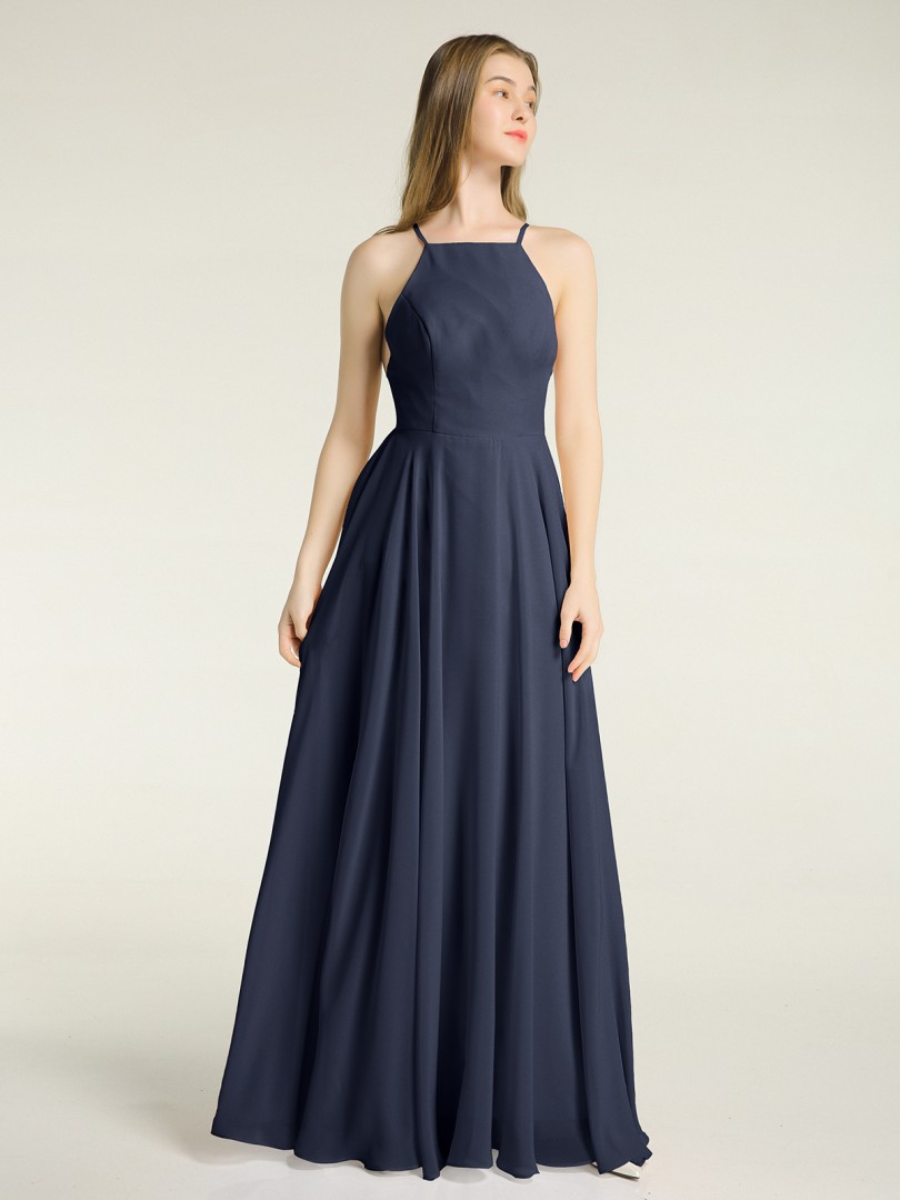 A-line Chiffon Dusty Rose Backless  Floor-length Square Spaghetti Straps Long Bridesmaid Dresses