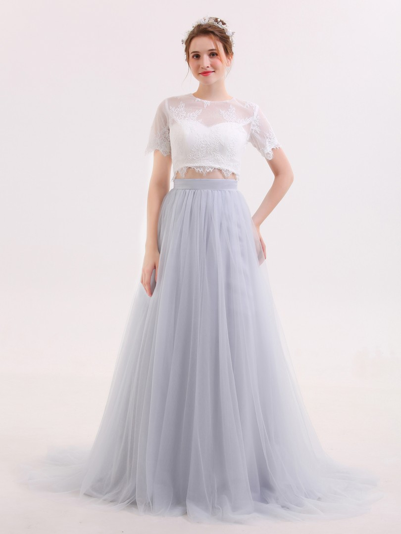 A-line Tulle Silver Zipper  Sweep/Brush Train Scoop Short Simple Wedding Dresses