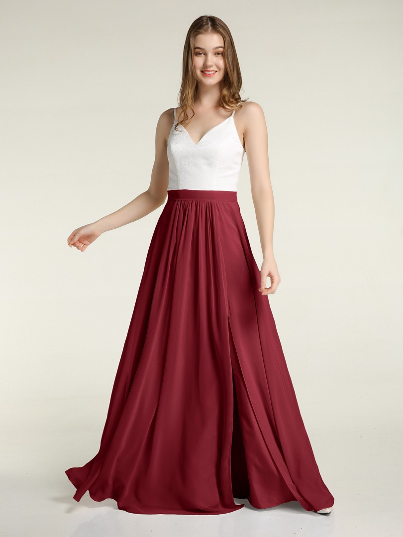 A-line Chiffon Burgundy Zipper Lace, Ruched Floor-length V-neck Spaghetti Straps Bridesmaid Dresses