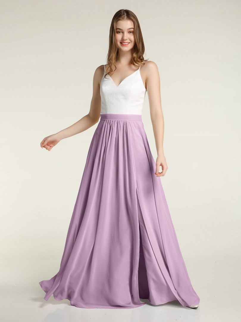 A-line Chiffon Burgundy Zipper Lace, Ruched Floor-length V-neck Spaghetti Straps New Arrivals