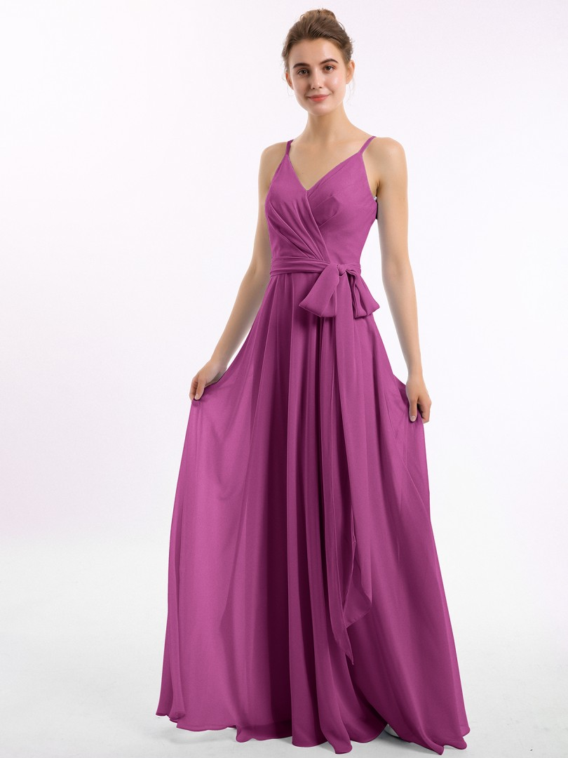 A-line Chiffon Tahiti Zipper Bow, Ruched Floor-length V-neck Spaghetti Straps New Arrivals