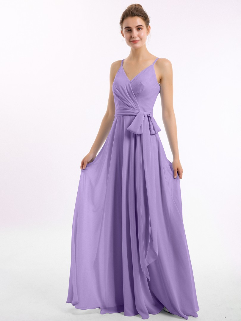 A-line Chiffon Tahiti Zipper Bow, Ruched Floor-length V-neck Spaghetti Straps Bridesmaid Dresses