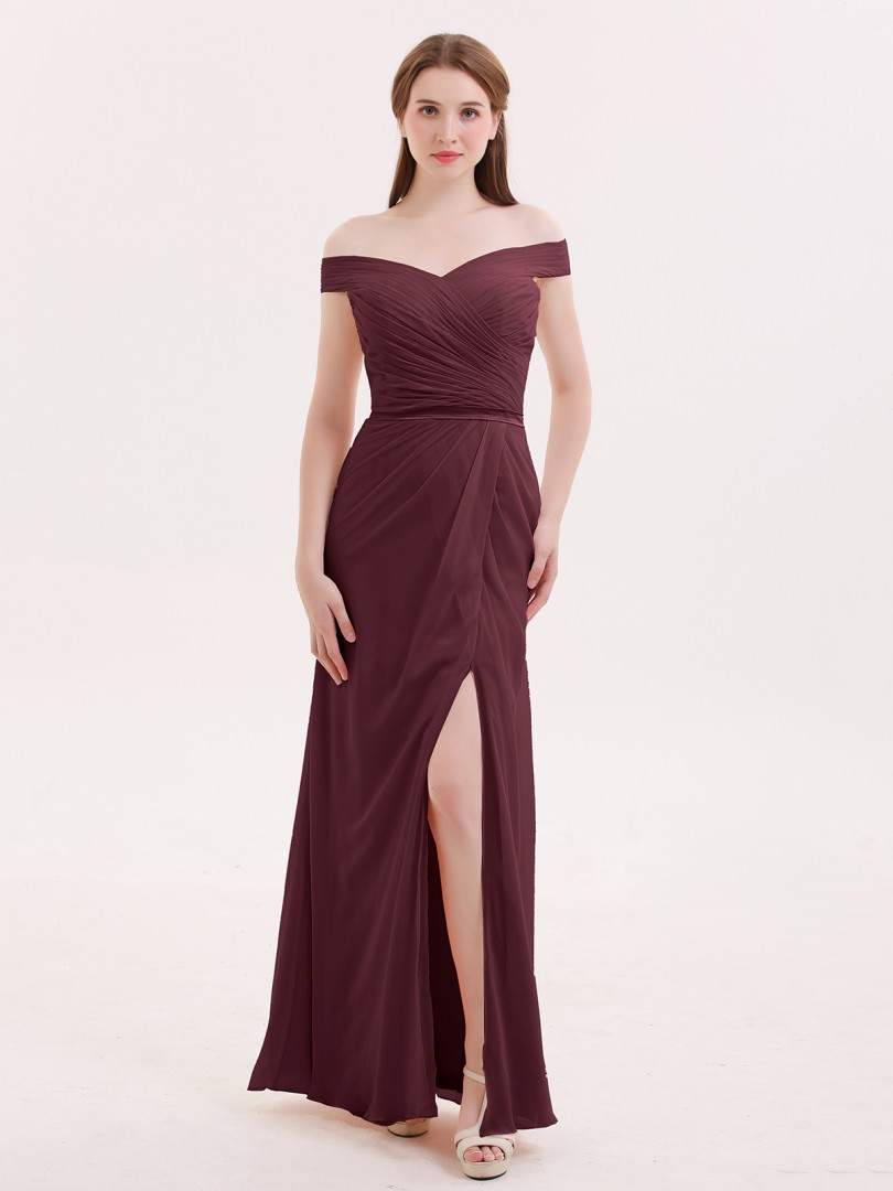 Trumpet/Mermaid Chiffon Dark Navy Zipper Pleated Floor-length Off-the-shoulder Sleeveless Sexy Prom Dresses