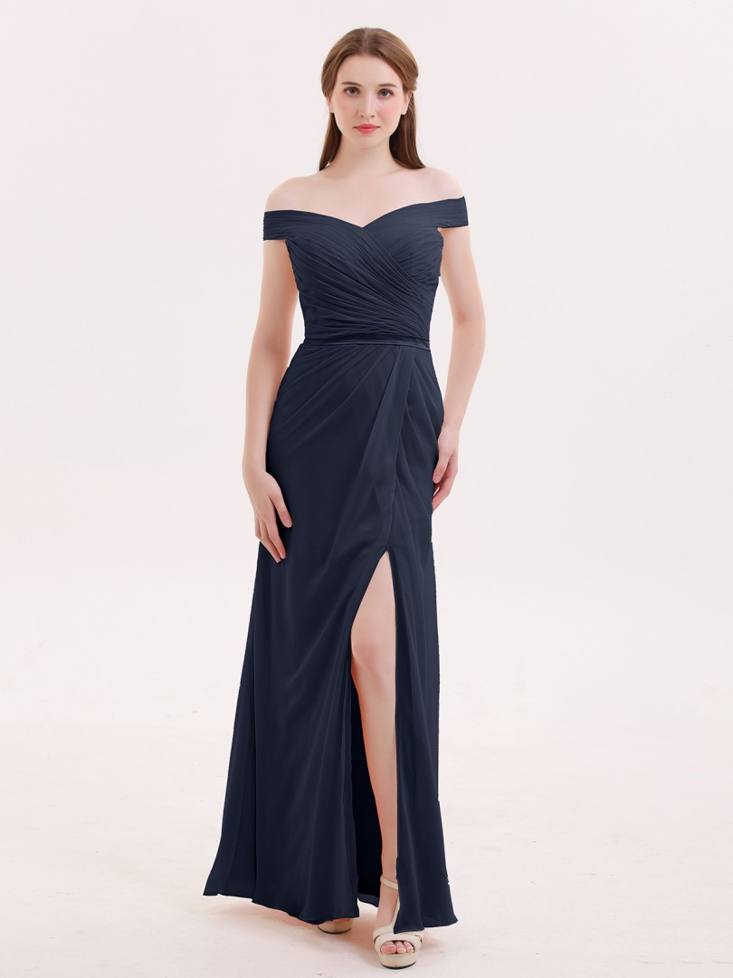 Trumpet/Mermaid Chiffon Dark Navy Zipper Pleated Floor-length Off-the-shoulder Sleeveless Prom Dresses