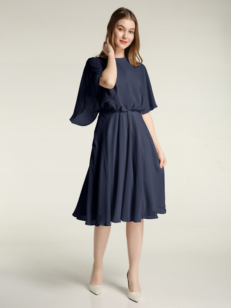 A-line Chiffon Dark Navy Zipper Ruffle, Ruched Knee-length Scoop Half Sleeve New Arrivals