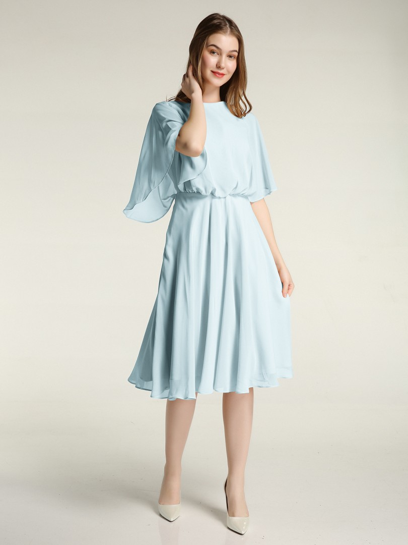 A-line Chiffon Dark Navy Zipper Ruffle, Ruched Knee-length Scoop Half Sleeve Short Bridesmaid Dresses