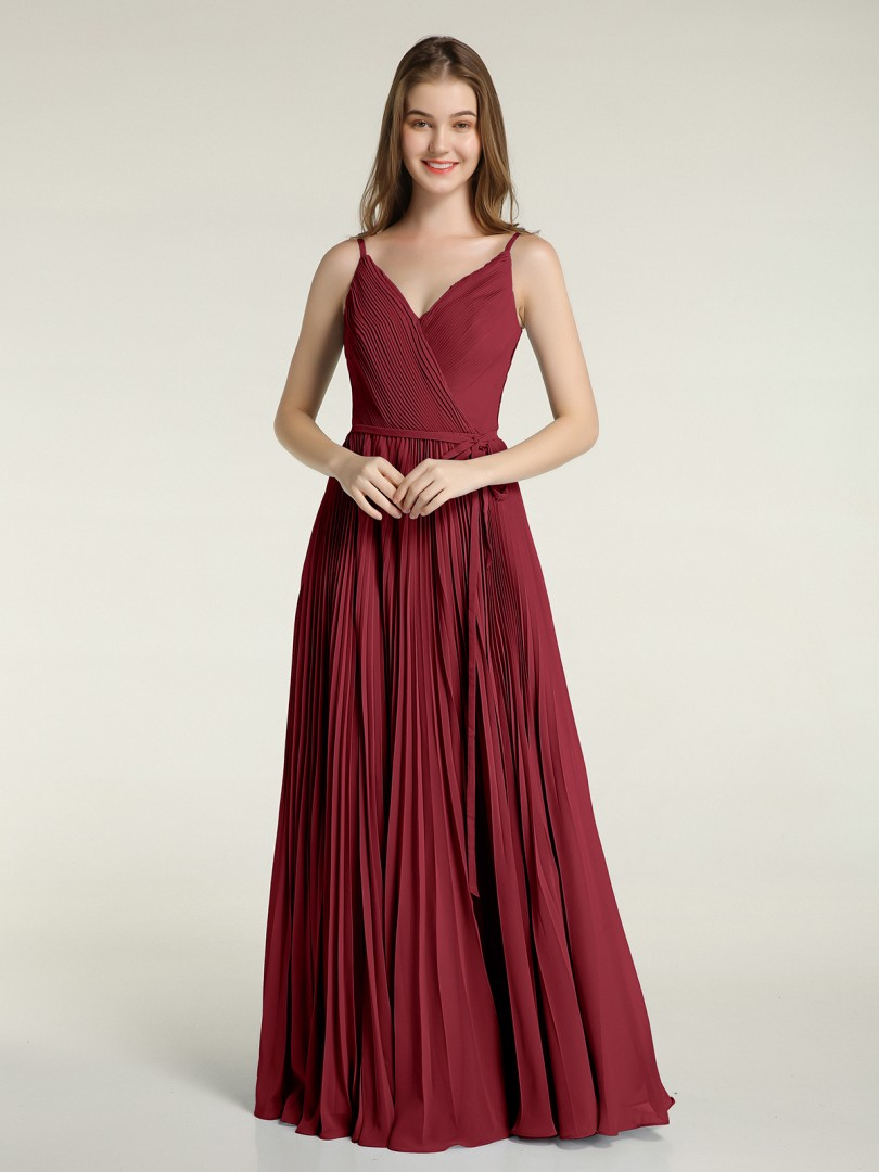 A-line Chiffon Dusty Blue Zipper Side Bow, Pleated Floor-length V-neck Spaghetti Straps New Arrivals