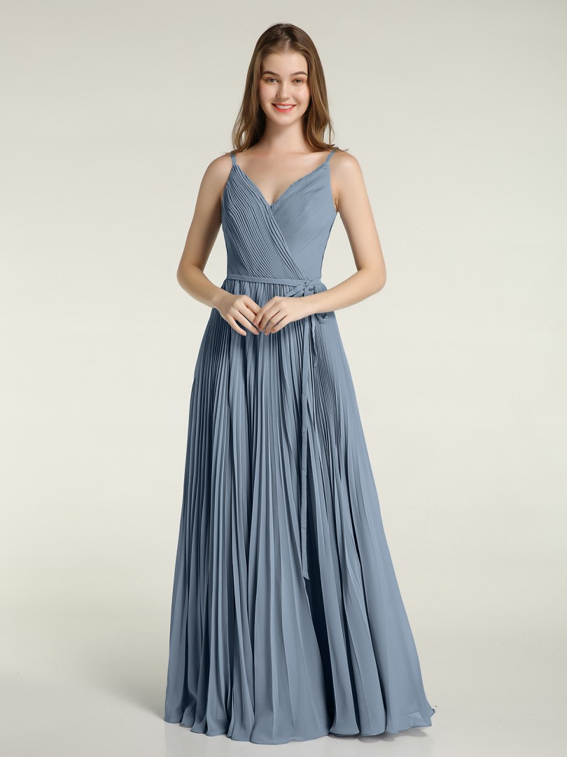 A-line Chiffon Dusty Blue Zipper Side Bow, Pleated Floor-length V-neck Spaghetti Straps Bridesmaid Dresses