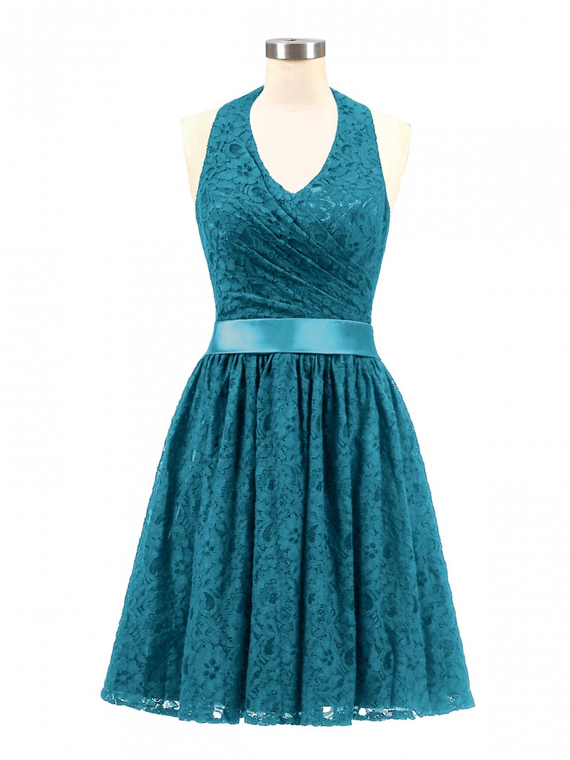 A-line Lace Ink Blue Zipper Ruched, Pleated Short/Mini Halter Sleeveless Bridesmaid Dresses