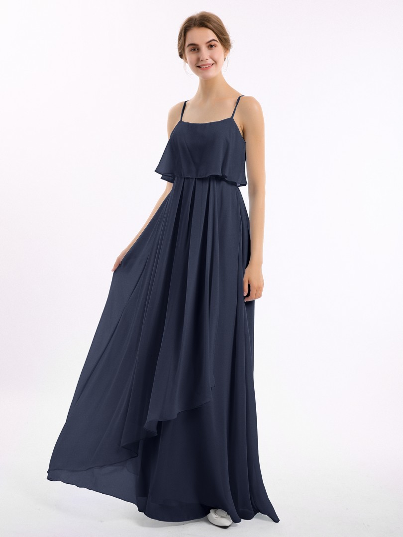 A-line Chiffon Watermelon Zipper Ruched Floor-length Strapless Spaghetti Straps Long Bridesmaid Dresses