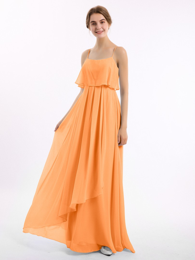 A-line Chiffon Watermelon Zipper Ruched Floor-length Strapless Spaghetti Straps New Arrivals