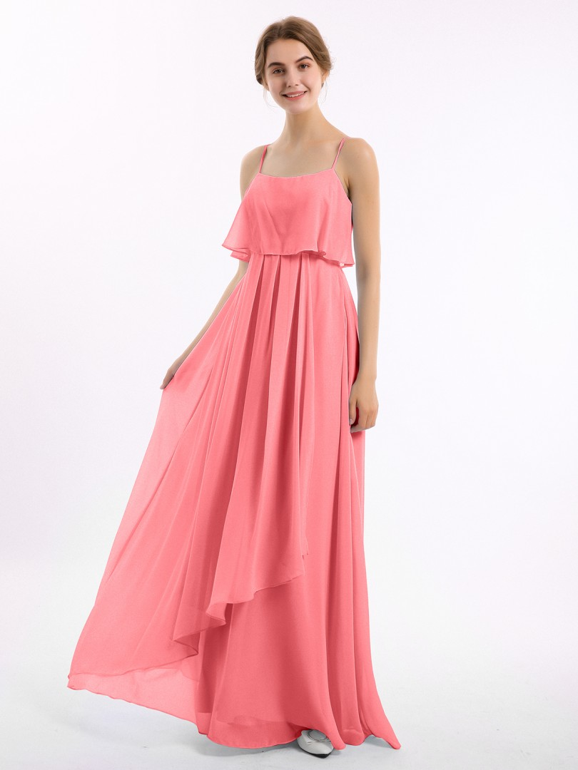 A-line Chiffon Watermelon Zipper Ruched Floor-length Strapless Spaghetti Straps Bridesmaid Dresses