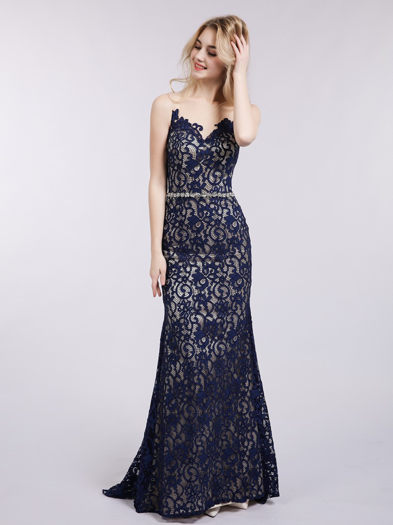 Trumpet/Mermaid Lace Dark Navy Zipper Rhinestone Sweep/Brush Train Illusion Sleeveless New Arrivals