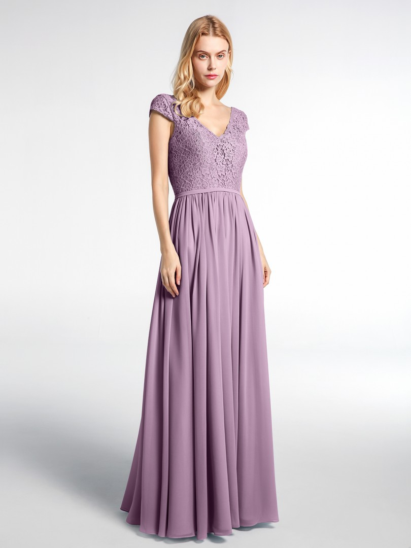 A-line No Wisteria Zipper Ruched Floor-length V-neck Cap Sleeve Wedding Party